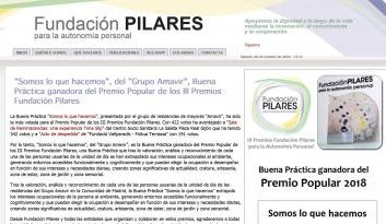 Amavir Valdebernardo gana el premio popular de los III Premios Fundación Pilares para la Autonomía Personal